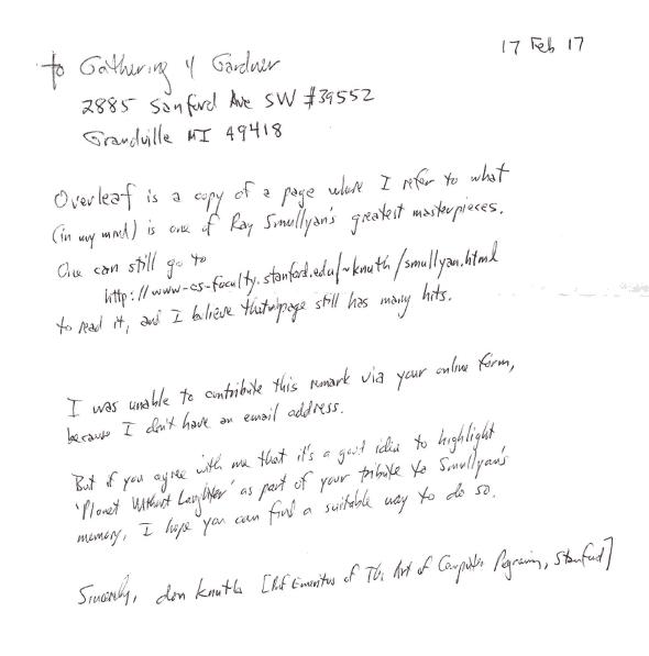 Don Knut Smullyan Letter