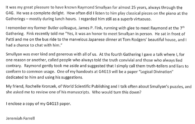 Jeremiah Farrell Letter about Smullyan